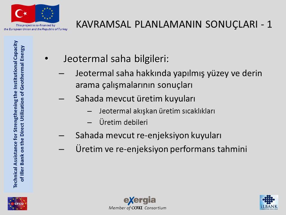 Member of Consortium This project is co-financed by the European Union and the Republic of Turkey KAVRAMSAL PLANLAMANIN SONUÇLARI - 1 • Jeotermal saha bilgileri: – Jeotermal saha hakkında yapılmış yüzey ve derin arama çalışmalarının sonuçları – Sahada mevcut üretim kuyuları – Jeotermal akışkan üretim sıcaklıkları – Üretim debileri – Sahada mevcut re-enjeksiyon kuyuları – Üretim ve re-enjeksiyon performans tahmini