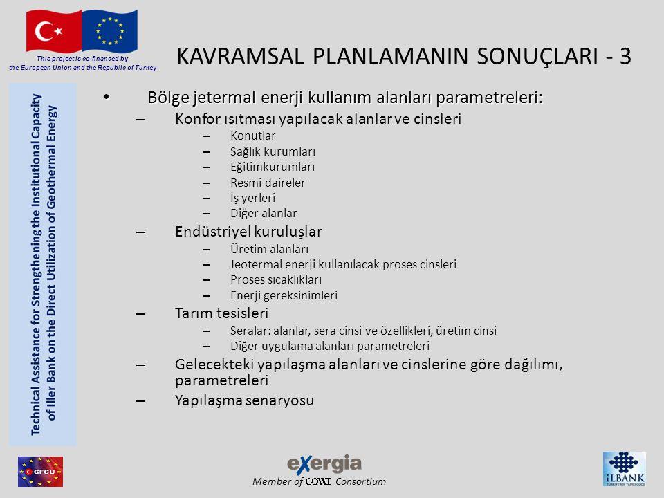 Member of Consortium This project is co-financed by the European Union and the Republic of Turkey KAVRAMSAL PLANLAMANIN SONUÇLARI - 3 • Bölge jetermal enerji kullanım alanları parametreleri: – Konfor ısıtması yapılacak alanlar ve cinsleri – Konutlar – Sağlık kurumları – Eğitimkurumları – Resmi daireler – İş yerleri – Diğer alanlar – Endüstriyel kuruluşlar – Üretim alanları – Jeotermal enerji kullanılacak proses cinsleri – Proses sıcaklıkları – Enerji gereksinimleri – Tarım tesisleri – Seralar: alanlar, sera cinsi ve özellikleri, üretim cinsi – Diğer uygulama alanları parametreleri – Gelecekteki yapılaşma alanları ve cinslerine göre dağılımı, parametreleri – Yapılaşma senaryosu