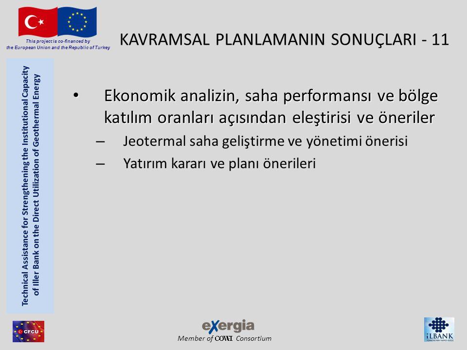 Member of Consortium This project is co-financed by the European Union and the Republic of Turkey KAVRAMSAL PLANLAMANIN SONUÇLARI - 11 • Ekonomik analizin, saha performansı ve bölge katılım oranları açısından eleştirisi ve öneriler – Jeotermal saha geliştirme ve yönetimi önerisi – Yatırım kararı ve planı önerileri