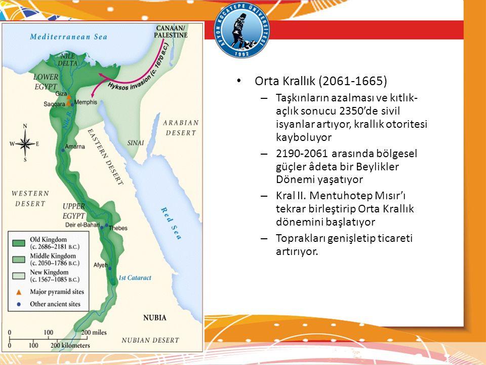 • Orta Krallık (2061-1665) – Taşkınların azalması ve kıtlık- açlık sonucu 2350'de sivil isyanlar artıyor, krallık otoritesi kayboluyor – 2190-2061 ara