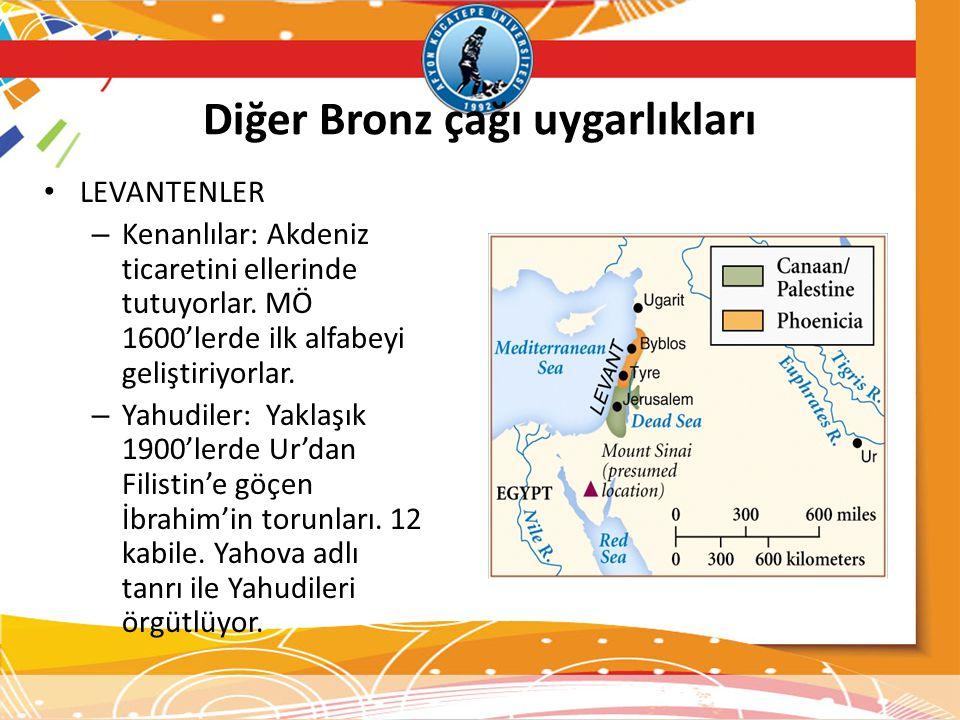 Diğer Bronz çağı uygarlıkları • LEVANTENLER – Kenanlılar: Akdeniz ticaretini ellerinde tutuyorlar. MÖ 1600'lerde ilk alfabeyi geliştiriyorlar. – Yahud