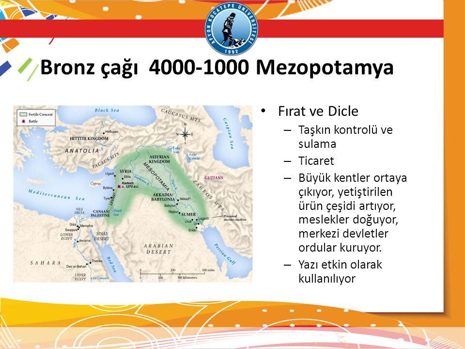 Bronz çağı 4000-1000 Mezopotamya • Fırat ve Dicle – Taşkın kontrolü ve sulama – Ticaret – Büyük kentler ortaya çıkıyor, yetiştirilen ürün çeşidi artıy