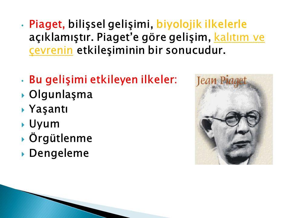 • Piaget, bilişsel gelişimi, biyolojik ilkelerle açıklamıştır. Piaget'e göre gelişim, kalıtım ve çevrenin etkileşiminin bir sonucudur. • Bu gelişimi e
