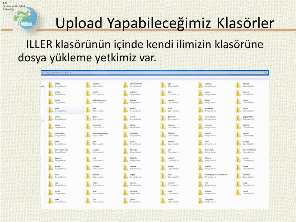 Upload Yapabileceğimiz Klasörler ILLER klasörünün içinde kendi ilimizin klasörüne dosya yükleme yetkimiz var.