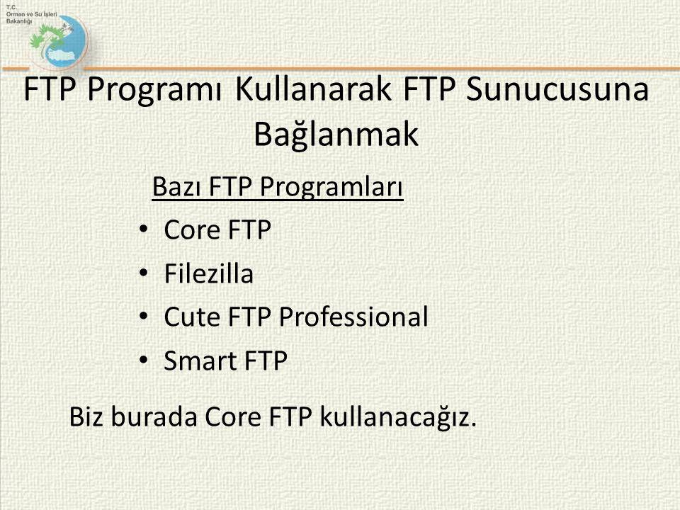 FTP Programı Kullanarak FTP Sunucusuna Bağlanmak Bazı FTP Programları • Core FTP • Filezilla • Cute FTP Professional • Smart FTP Biz burada Core FTP k