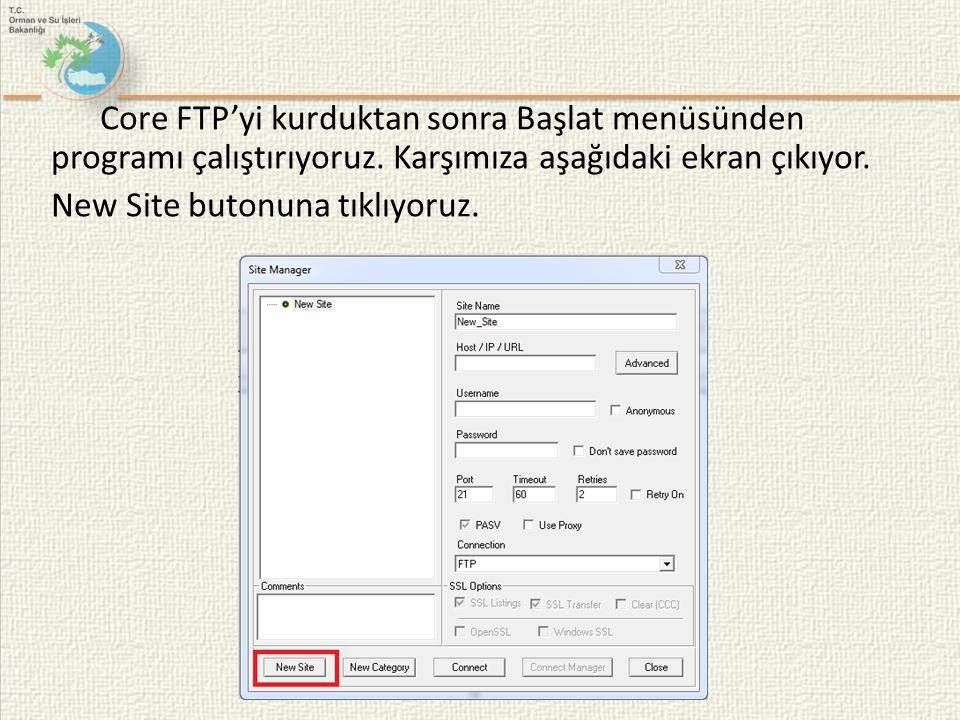Core FTP'yi kurduktan sonra Başlat menüsünden programı çalıştırıyoruz. Karşımıza aşağıdaki ekran çıkıyor. New Site butonuna tıklıyoruz.