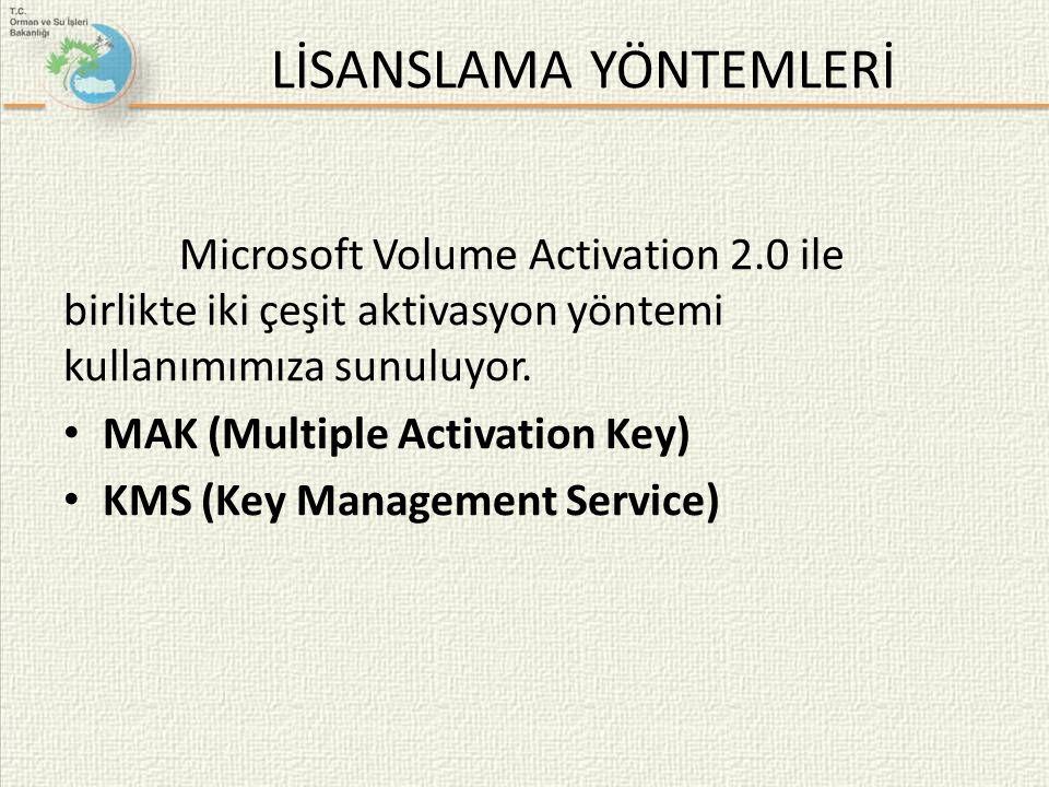 LİSANSLAMA YÖNTEMLERİ Microsoft Volume Activation 2.0 ile birlikte iki çeşit aktivasyon yöntemi kullanımımıza sunuluyor. • MAK (Multiple Activation Ke