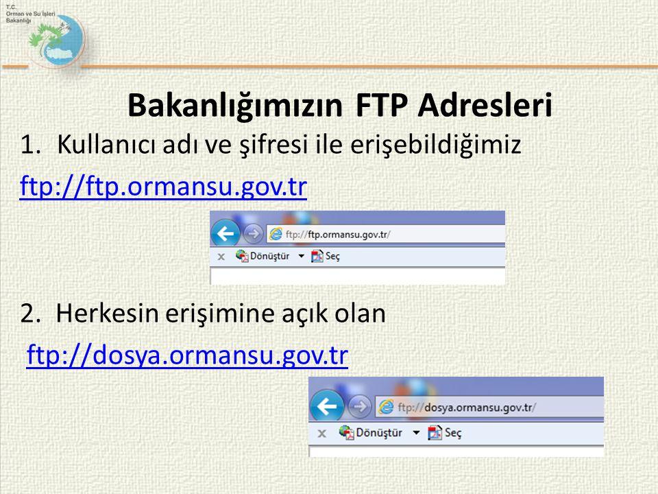 Bakanlığımızın FTP Adresleri 1.Kullanıcı adı ve şifresi ile erişebildiğimiz ftp://ftp.ormansu.gov.tr 2. Herkesin erişimine açık olan ftp://dosya.orman