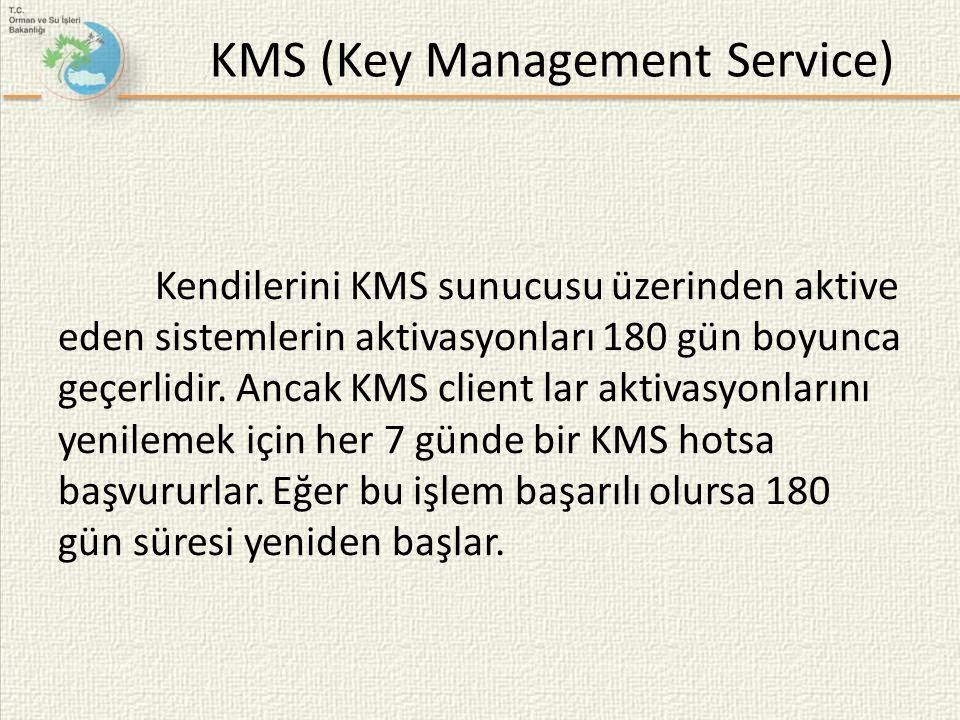 Kendilerini KMS sunucusu üzerinden aktive eden sistemlerin aktivasyonları 180 gün boyunca geçerlidir. Ancak KMS client lar aktivasyonlarını yenilemek