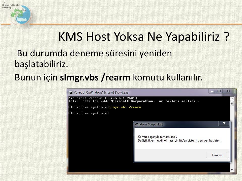 Bu durumda deneme süresini yeniden başlatabiliriz. Bunun için slmgr.vbs /rearm komutu kullanılır. KMS Host Yoksa Ne Yapabiliriz ?