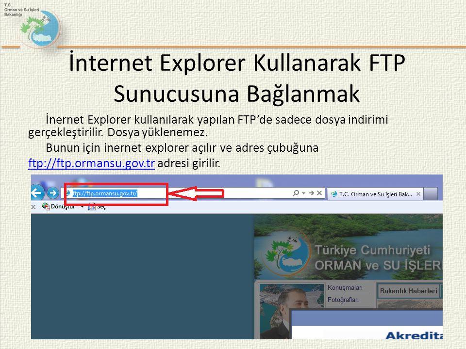 İnternet Explorer Kullanarak FTP Sunucusuna Bağlanmak İnernet Explorer kullanılarak yapılan FTP'de sadece dosya indirimi gerçekleştirilir. Dosya yükle