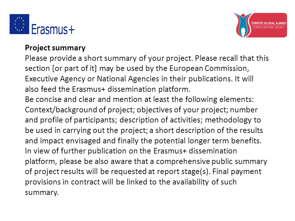 Project summary Please provide a short summary of your project.
