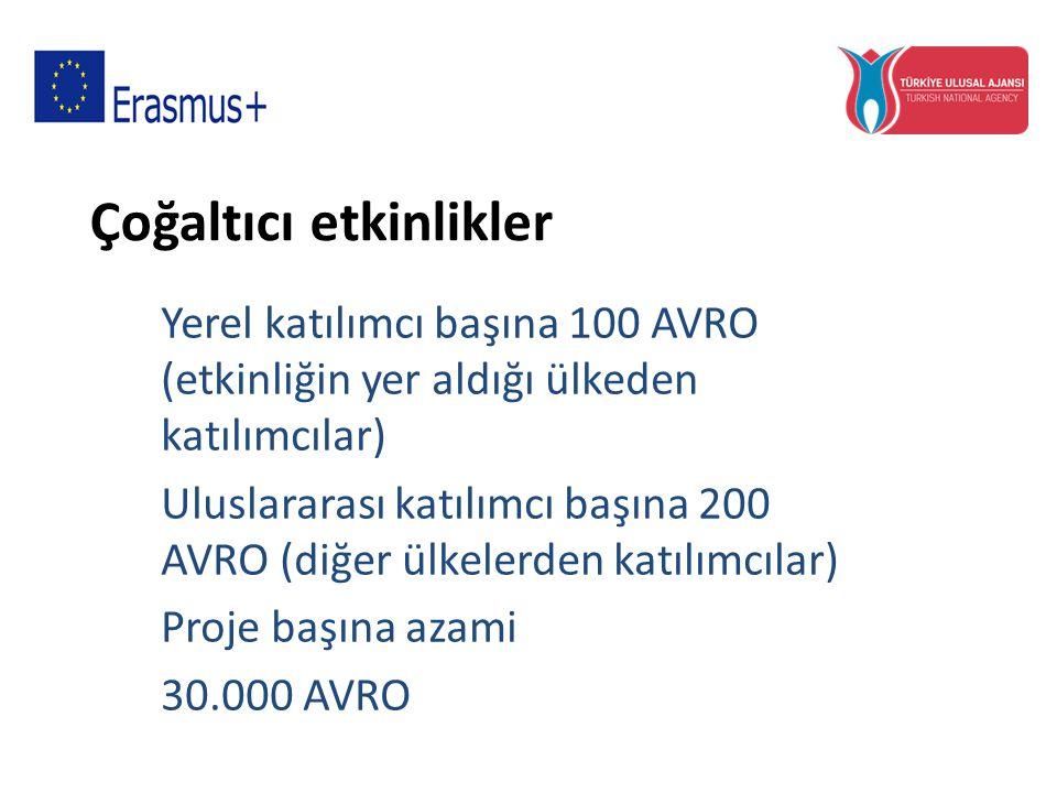 Çoğaltıcı etkinlikler Yerel katılımcı başına 100 AVRO (etkinliğin yer aldığı ülkeden katılımcılar) Uluslararası katılımcı başına 200 AVRO (diğer ülkel