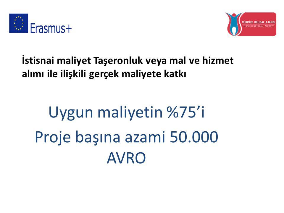 İstisnai maliyet Taşeronluk veya mal ve hizmet alımı ile ilişkili gerçek maliyete katkı Uygun maliyetin %75'i Proje başına azami 50.000 AVRO