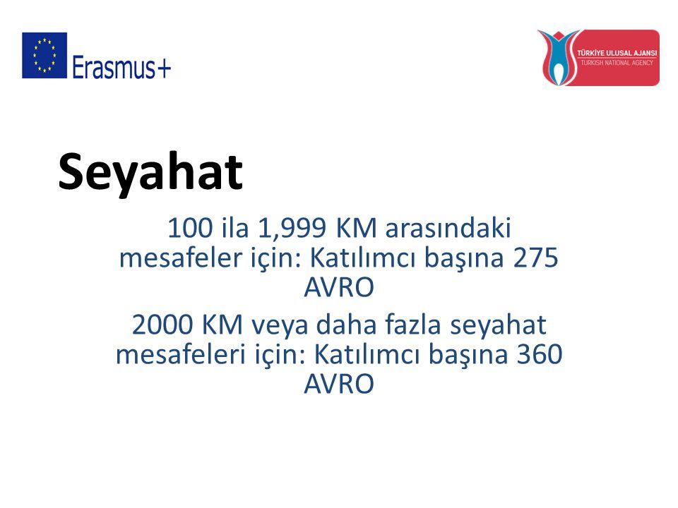 Seyahat 100 ila 1,999 KM arasındaki mesafeler için: Katılımcı başına 275 AVRO 2000 KM veya daha fazla seyahat mesafeleri için: Katılımcı başına 360 AV
