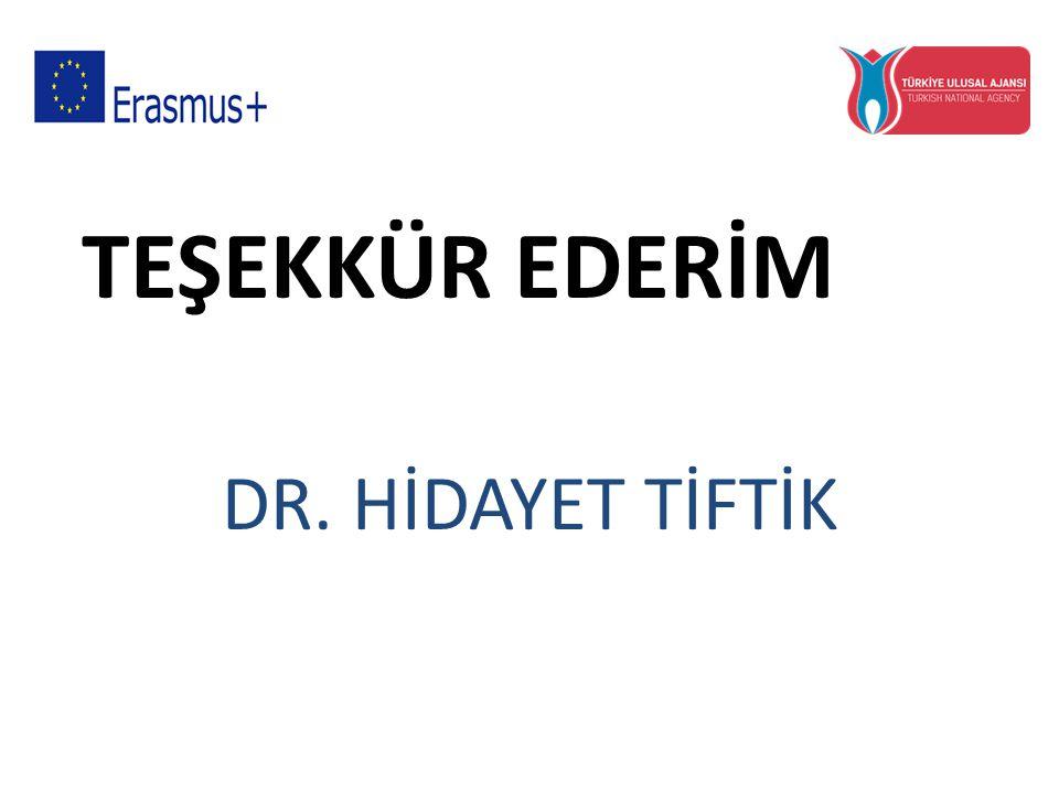TEŞEKKÜR EDERİM DR. HİDAYET TİFTİK