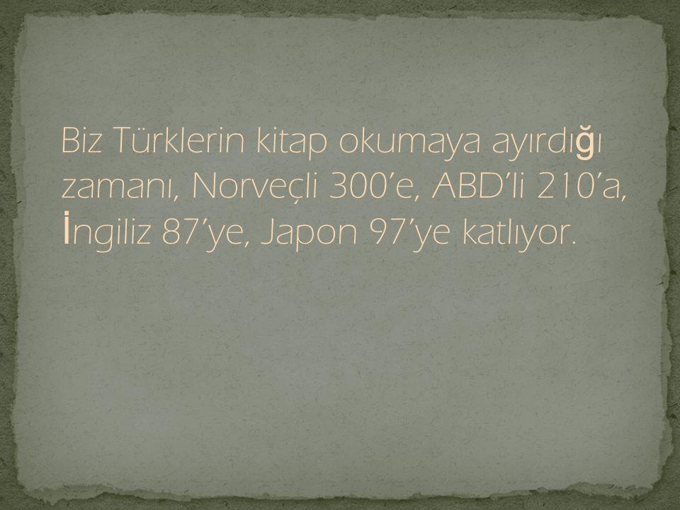 Biz Türklerin kitap okumaya ayırdı ğ ı zamanı, Norveçli 300'e, ABD'li 210'a, İ ngiliz 87'ye, Japon 97'ye katlıyor.