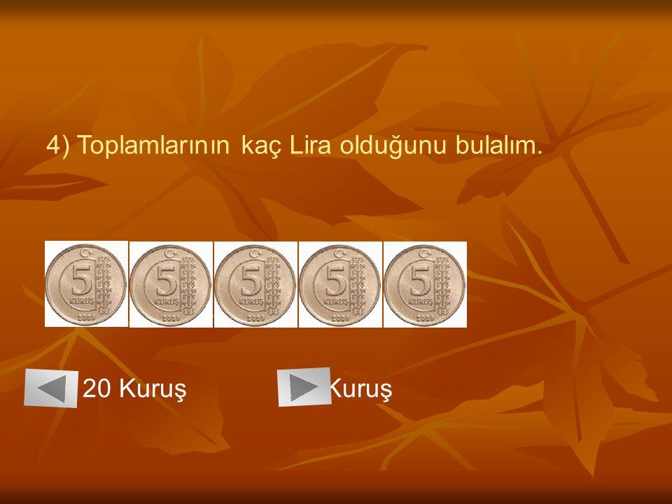4) Toplamlarının kaç Lira olduğunu bulalım. 20 Kuruş 25 Kuruş