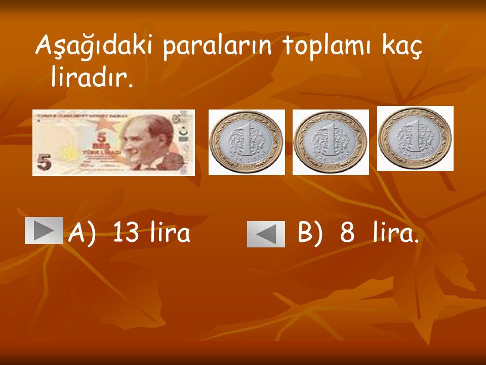 Aşağıdaki paraların toplamı kaç liradır. A) 13 lira B) 8 lira.