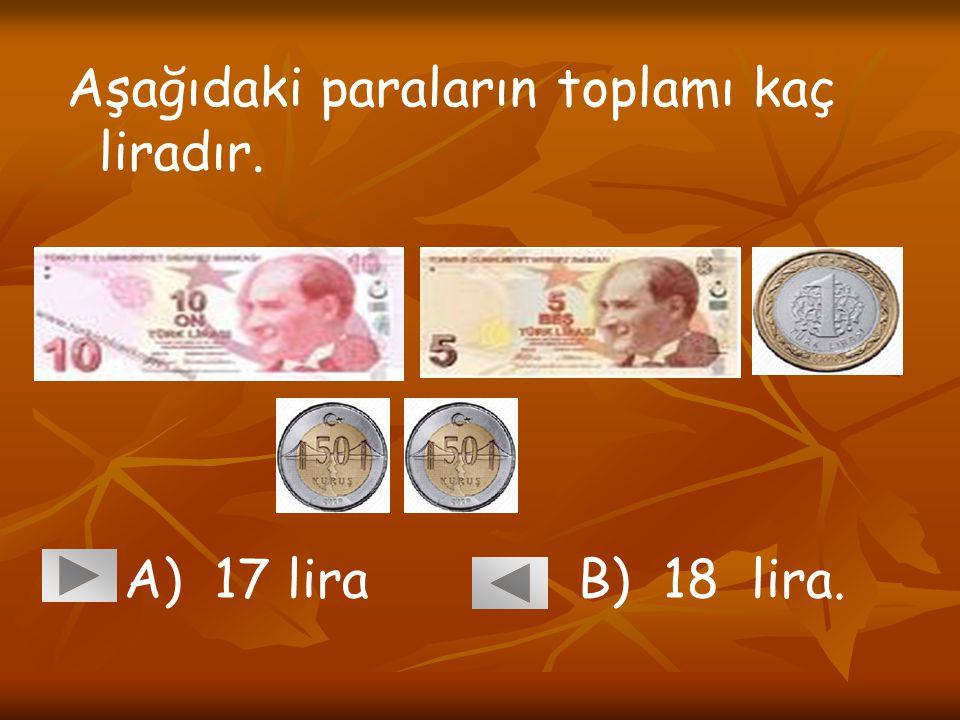 Aşağıdaki paraların toplamı kaç liradır. A) 17 lira B) 18 lira.