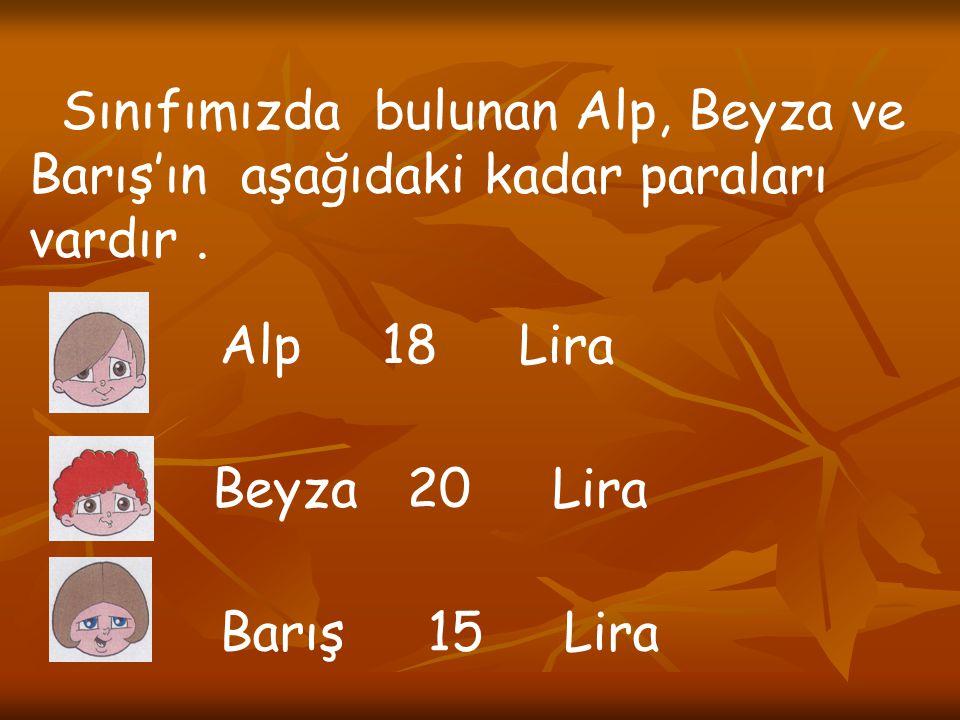 Sınıfımızda bulunan Alp, Beyza ve Barış'ın aşağıdaki kadar paraları vardır. Alp 18 Lira Beyza 20 Lira Barış 15 Lira
