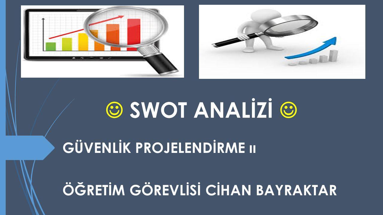 SWOT (KEFE) ANALİZİ  S Strength : Organizasyonun güçlü/üstün olduğu yönlerinin tespit edilmesi demektir.