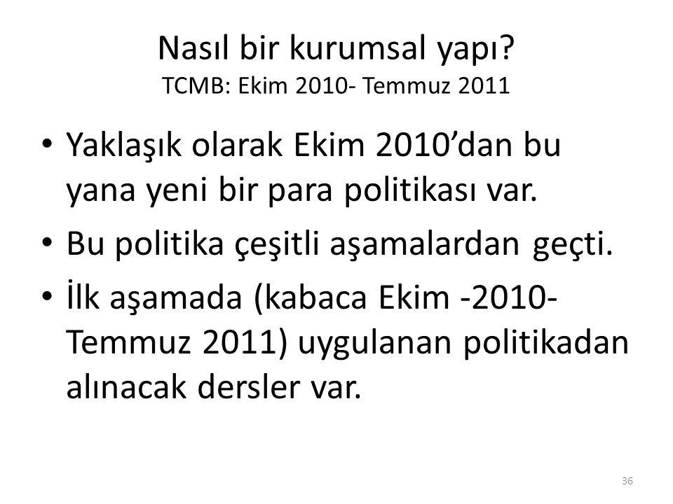 Nasıl bir kurumsal yapı? TCMB: Ekim 2010- Temmuz 2011 • Yaklaşık olarak Ekim 2010'dan bu yana yeni bir para politikası var. • Bu politika çeşitli aşam