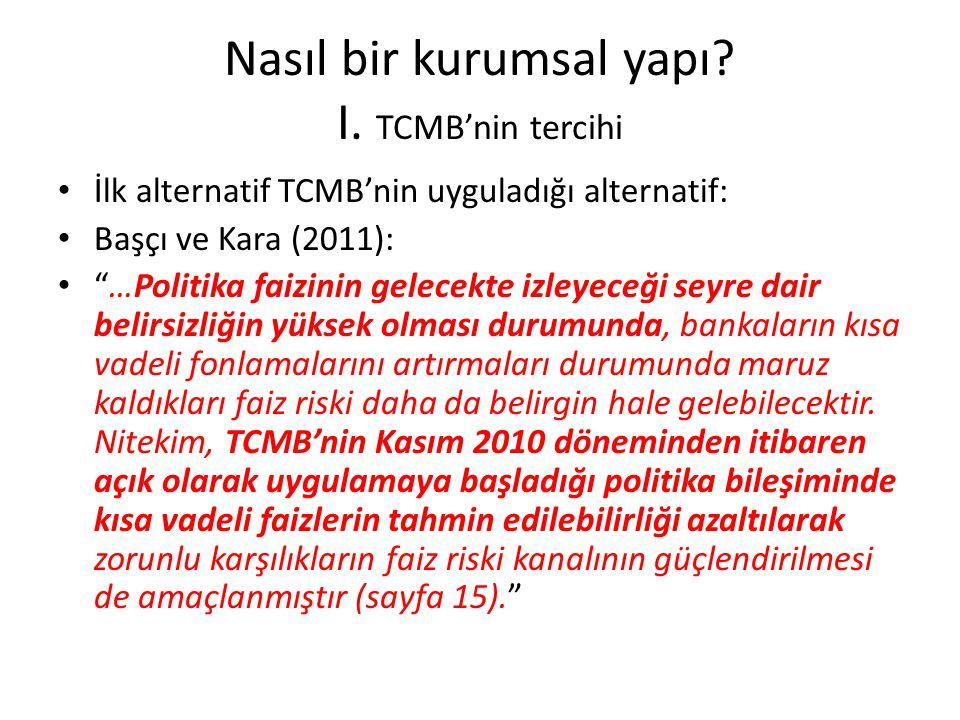"""Nasıl bir kurumsal yapı? I. TCMB'nin tercihi • İlk alternatif TCMB'nin uyguladığı alternatif: • Başçı ve Kara (2011): • """"…Politika faizinin gelecekte"""