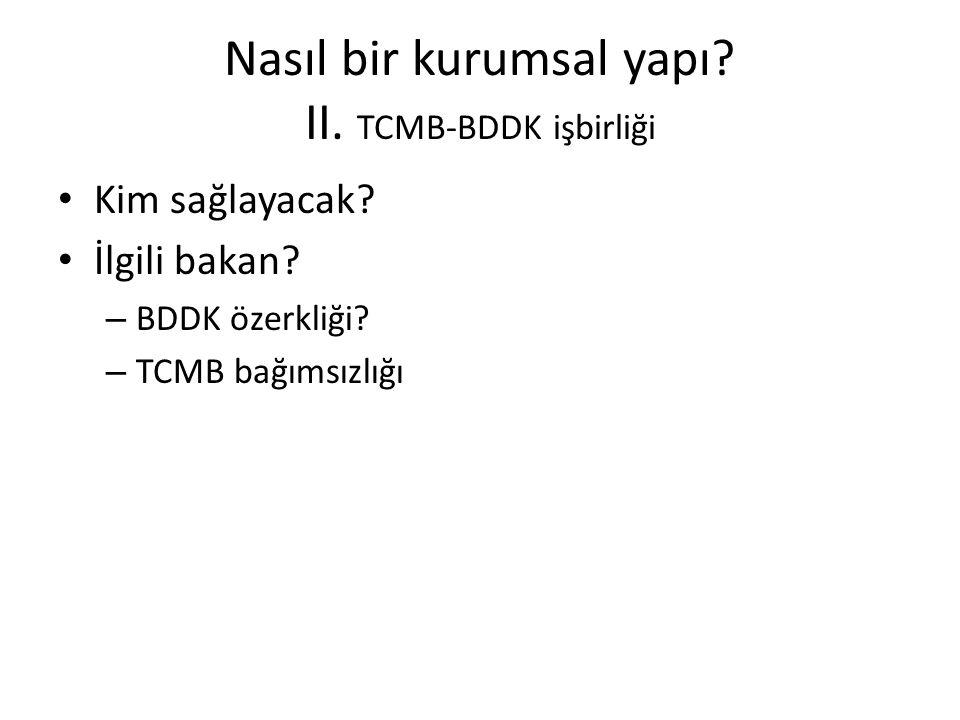 Nasıl bir kurumsal yapı? II. TCMB-BDDK işbirliği • Kim sağlayacak? • İlgili bakan? – BDDK özerkliği? – TCMB bağımsızlığı