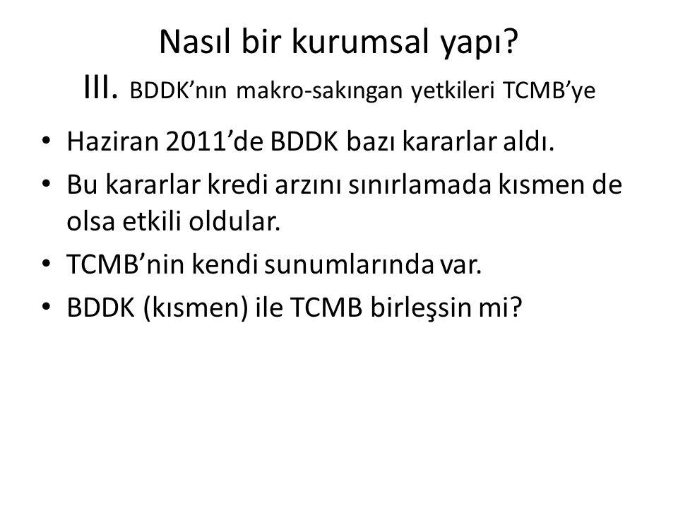 Nasıl bir kurumsal yapı? III. BDDK'nın makro-sakıngan yetkileri TCMB'ye • Haziran 2011'de BDDK bazı kararlar aldı. • Bu kararlar kredi arzını sınırlam