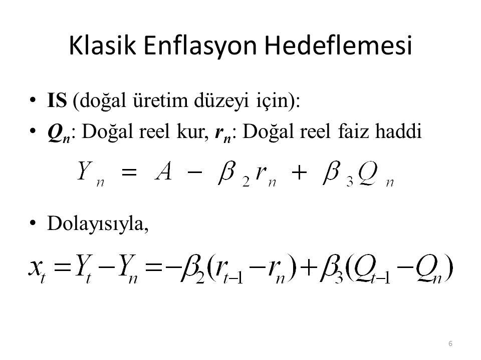 Klasik Enflasyon Hedeflemesi • IS (doğal üretim düzeyi için): • Q n : Doğal reel kur, r n : Doğal reel faiz haddi • Dolayısıyla, 6