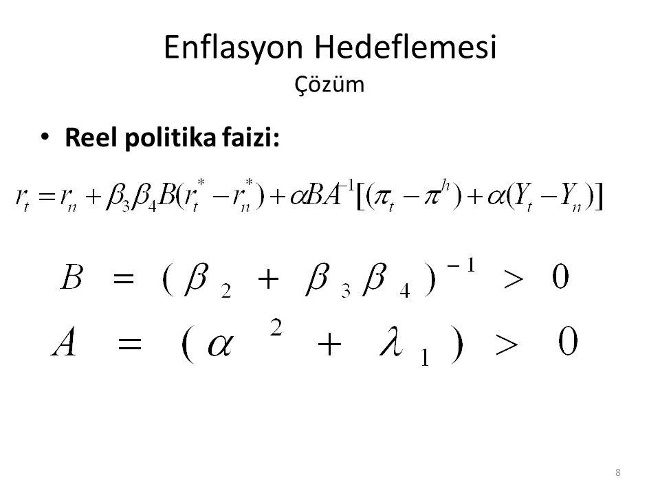 Enflasyon Hedeflemesi Çözüm • Reel politika faizi: 8