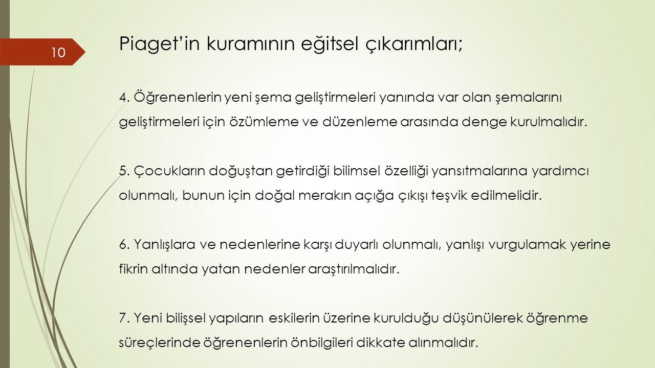 Piaget'in kuramının eğitsel çıkarımları; 4.