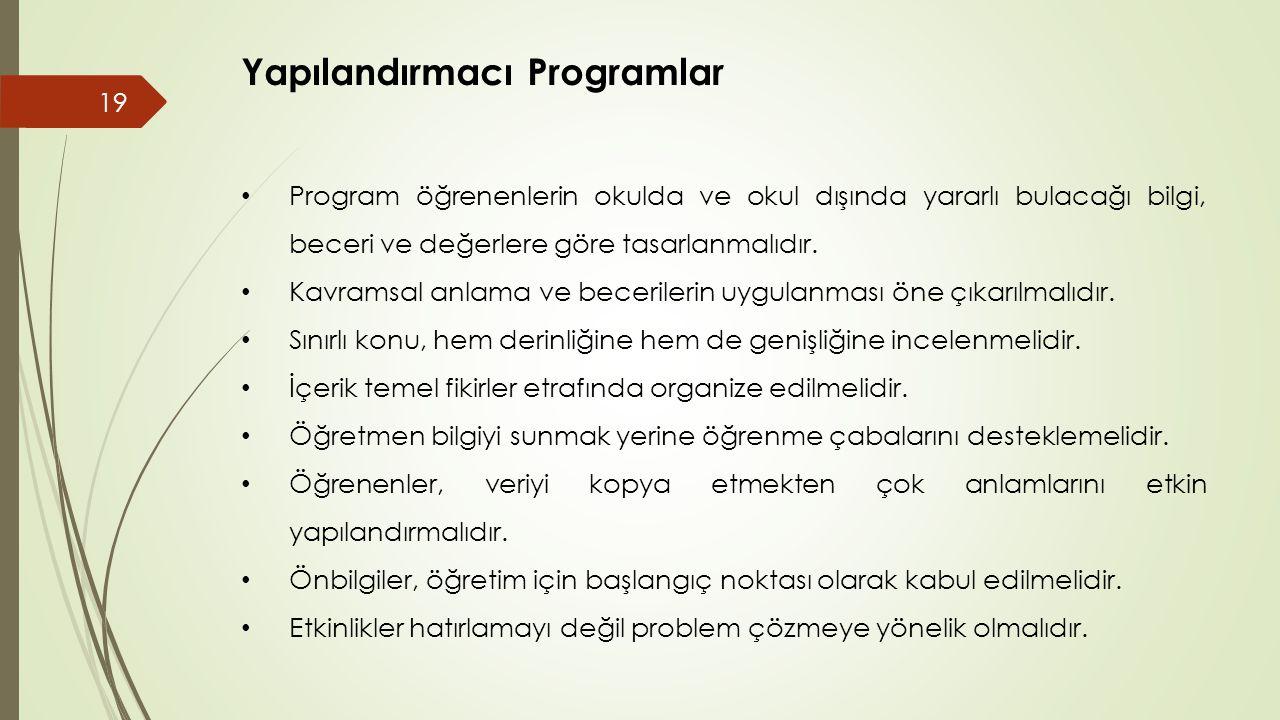 Yapılandırmacı Programlar • Program öğrenenlerin okulda ve okul dışında yararlı bulacağı bilgi, beceri ve değerlere göre tasarlanmalıdır.