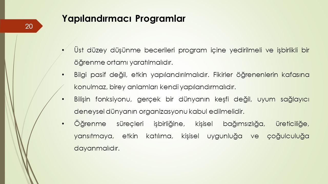 Yapılandırmacı Programlar • Üst düzey düşünme becerileri program içine yedirilmeli ve işbirlikli bir öğrenme ortamı yaratılmalıdır.
