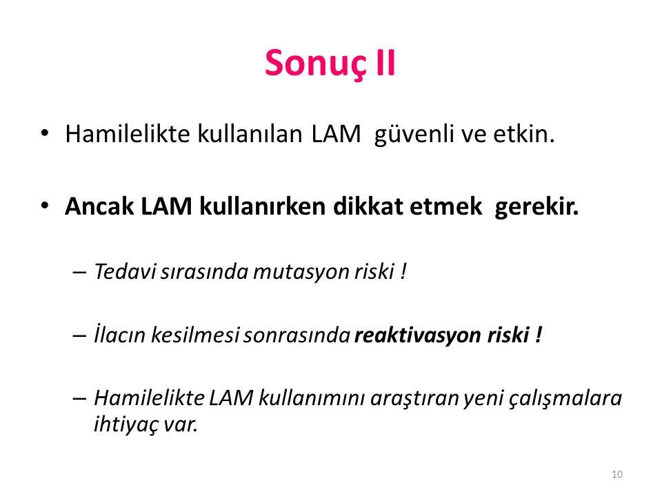 Sonuç II • Hamilelikte kullanılan LAM güvenli ve etkin.