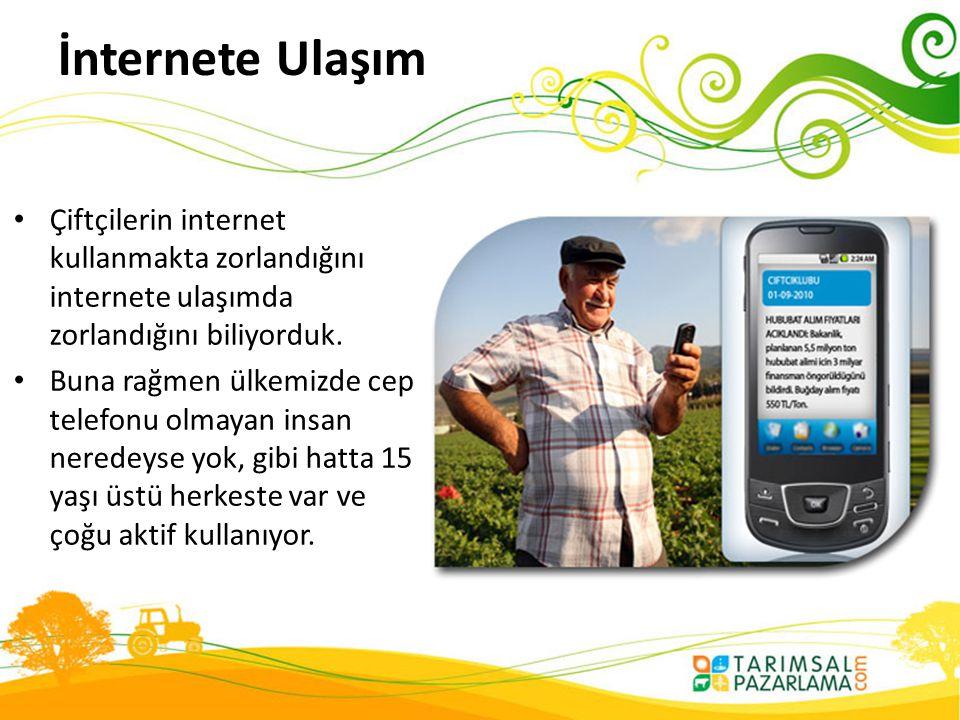 İnternete Ulaşım • Çiftçilerin internet kullanmakta zorlandığını internete ulaşımda zorlandığını biliyorduk. • Buna rağmen ülkemizde cep telefonu olma