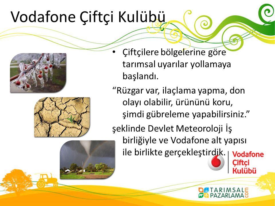 """Vodafone Çiftçi Kulübü • Çiftçilere bölgelerine göre tarımsal uyarılar yollamaya başlandı. """"Rüzgar var, ilaçlama yapma, don olayı olabilir, ürününü ko"""