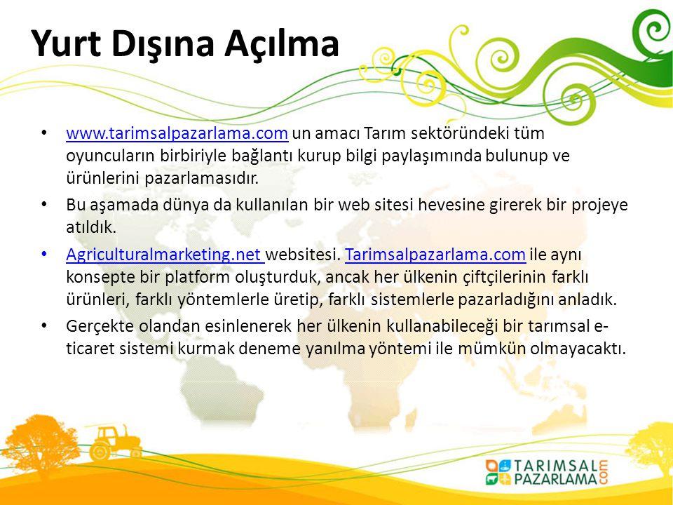 Yurt Dışına Açılma • www.tarimsalpazarlama.com un amacı Tarım sektöründeki tüm oyuncuların birbiriyle bağlantı kurup bilgi paylaşımında bulunup ve ürü