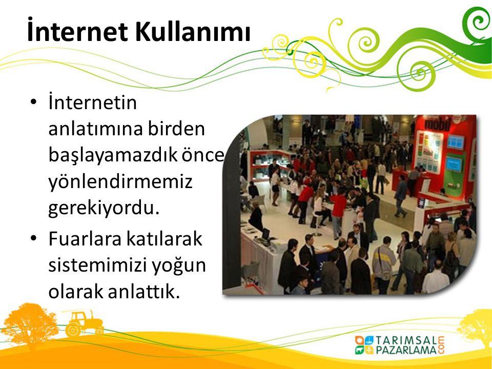 İnternet Kullanımı • İnternetin anlatımına birden başlayamazdık önce yönlendirmemiz gerekiyordu. • Fuarlara katılarak sistemimizi yoğun olarak anlattı