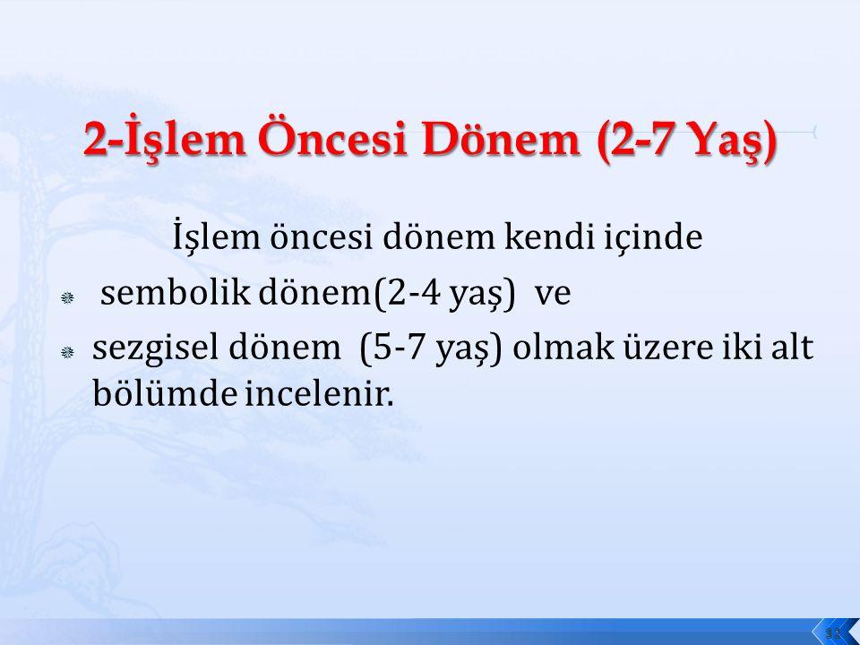 İşlem öncesi dönem kendi içinde  sembolik dönem(2-4 yaş) ve  sezgisel dönem (5-7 yaş) olmak üzere iki alt bölümde incelenir.