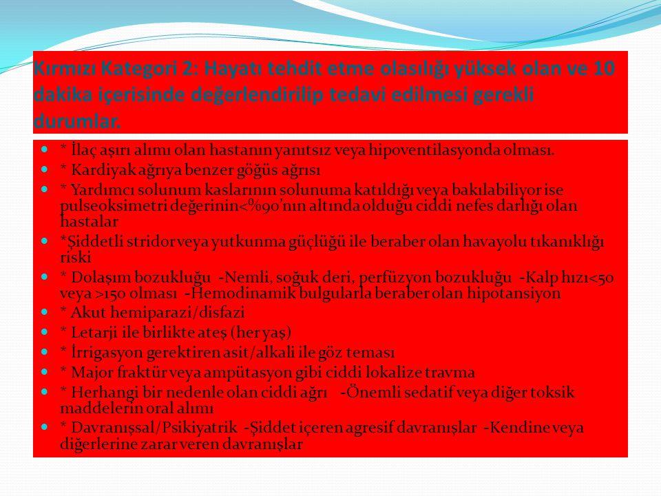 Kırmızı Kategori 1: Hayatı tehdit eden ve hızlı agresif yaklaşım ve acil olarak eş zamanlı değerlendirme ve tedavi gerektiren durumlar.
