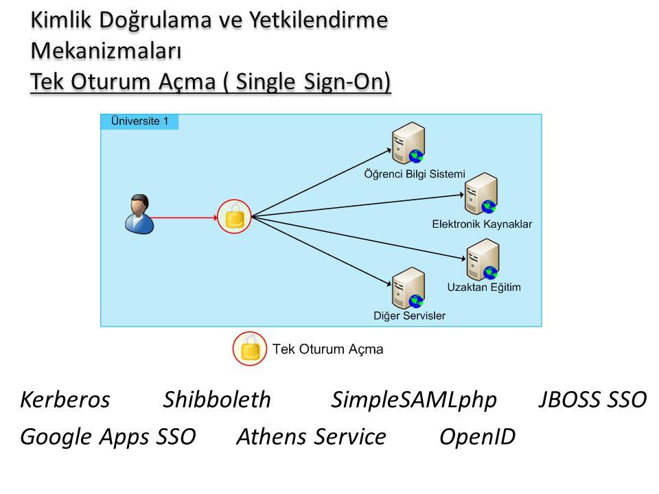 Kimlik Doğrulama ve Yetkilendirme Mekanizmaları Tek Oturum Açma ( Single Sign-On) Kerberos Shibboleth SimpleSAMLphp JBOSS SSO Google Apps SSO Athens S
