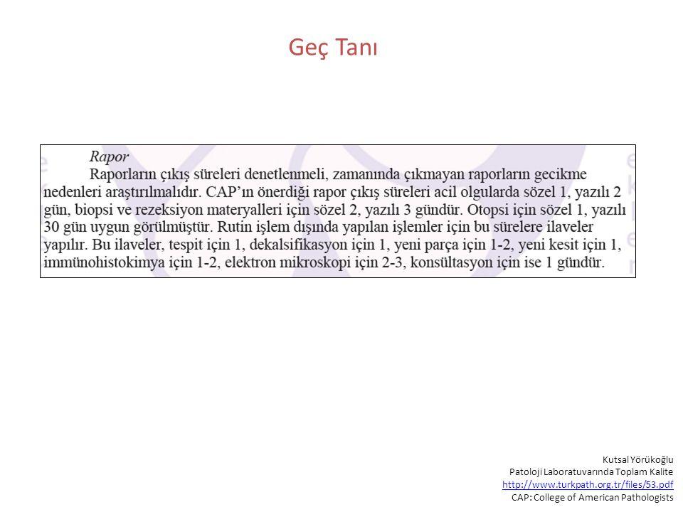Geç Tanı Kutsal Yörükoğlu Patoloji Laboratuvarında Toplam Kalite http://www.turkpath.org.tr/files/53.pdf CAP: College of American Pathologists