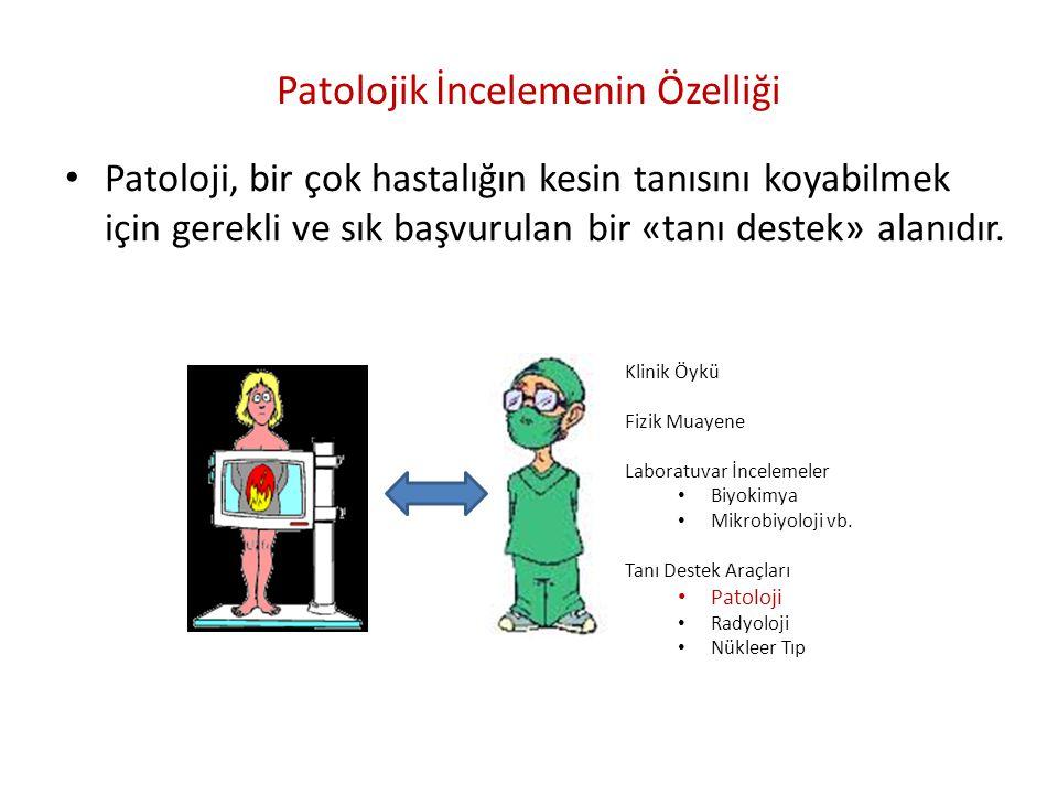 Patolojik İncelemenin Özelliği • Patoloji, bir çok hastalığın kesin tanısını koyabilmek için gerekli ve sık başvurulan bir «tanı destek» alanıdır. Kli