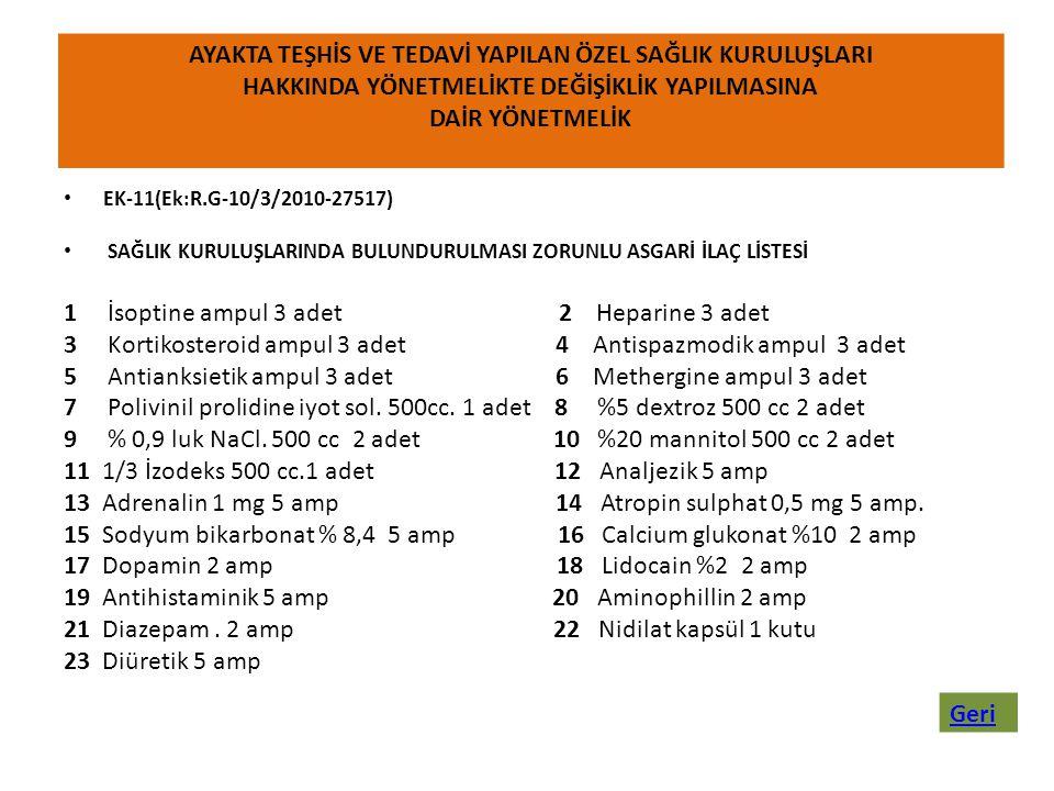 • EK-11(Ek:R.G-10/3/2010-27517) • SAĞLIK KURULUŞLARINDA BULUNDURULMASI ZORUNLU ASGARİ İLAÇ LİSTESİ 1 İsoptine ampul 3 adet 2 Heparine 3 adet 3 Kortiko