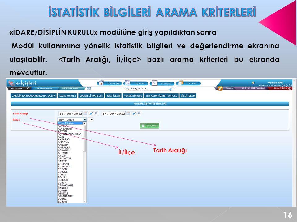 « İDARE/DİSİPLİN KURULU» modülüne giriş yapıldıktan sonra Modül kullanımına yönelik istatistik bilgileri ve değerlendirme ekranına ulaşılabilir.
