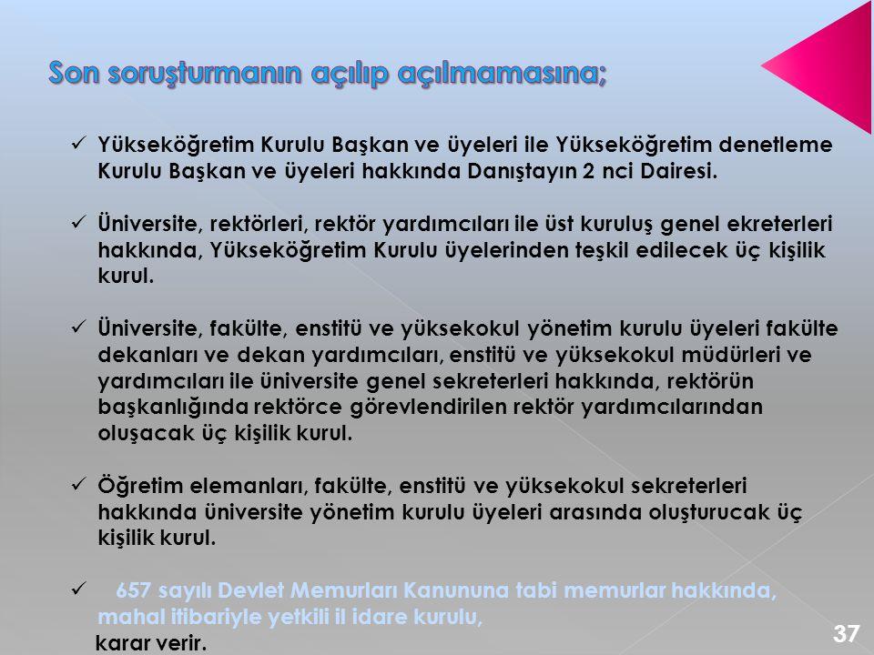  Yükseköğretim Kurulu Başkan ve üyeleri ile Yükseköğretim denetleme Kurulu Başkan ve üyeleri hakkında Danıştayın 2 nci Dairesi.