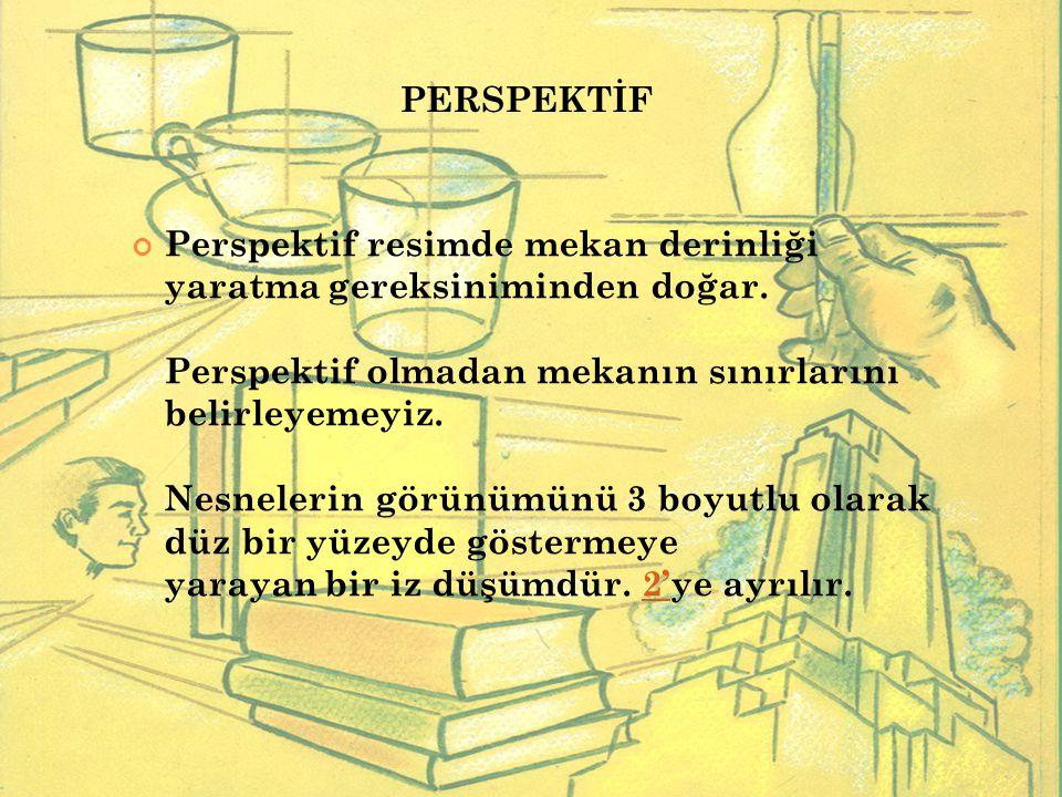 Perspektif resimde mekan derinliği yaratma gereksiniminden doğar. Perspektif olmadan mekanın sınırlarını belirleyemeyiz. Nesnelerin görünümünü 3 boyut