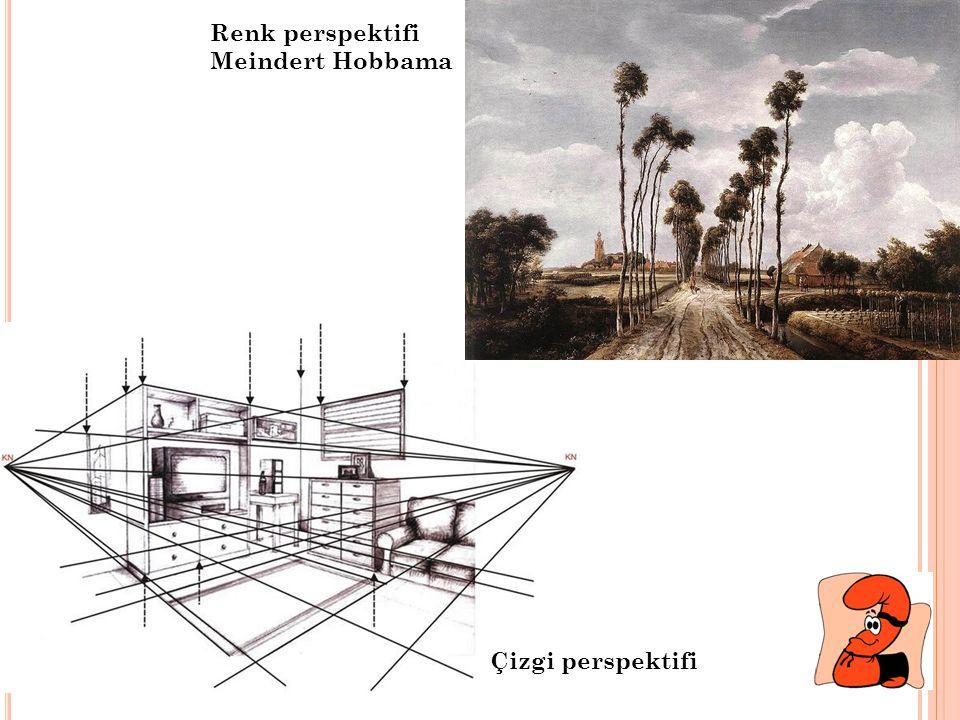 Renk perspektifi Meindert Hobbama Çizgi perspektifi